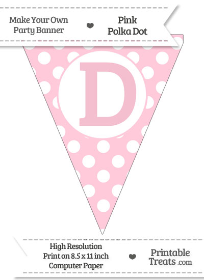 Pink Polka Dot Pennant Flag Capital Letter D from PrintableTreats.com