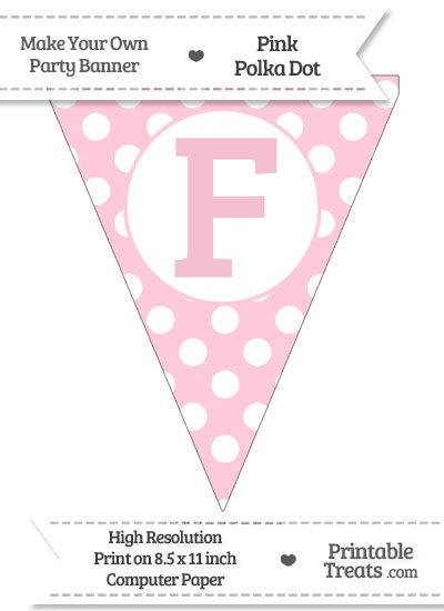 Pink Polka Dot Pennant Flag Capital Letter F from PrintableTreats.com