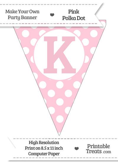 Pink Polka Dot Pennant Flag Capital Letter K from PrintableTreats.com