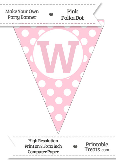 Pink Polka Dot Pennant Flag Capital Letter W from PrintableTreats.com