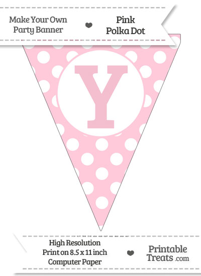 Pink Polka Dot Pennant Flag Capital Letter Y from PrintableTreats.com
