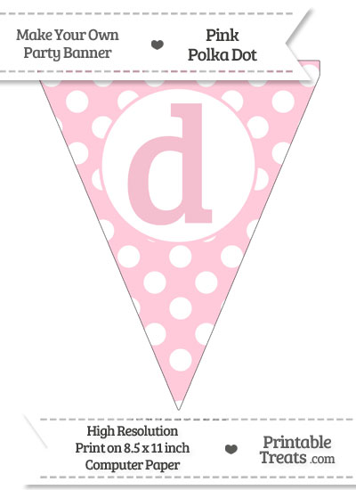 Pink Polka Dot Pennant Flag Lowercase Letter D from PrintableTreats.com