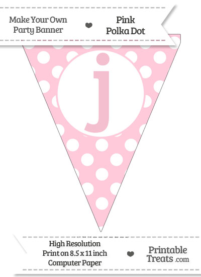 Pink Polka Dot Pennant Flag Lowercase Letter J from PrintableTreats.com