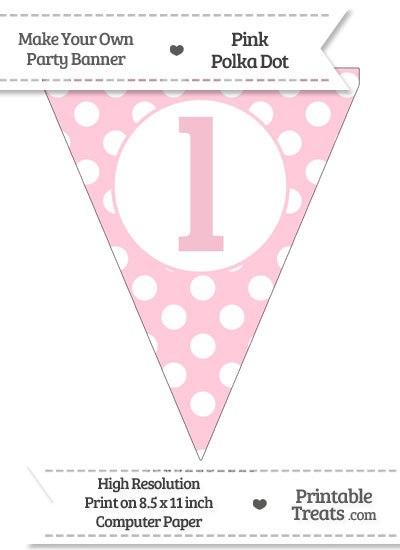 Pink Polka Dot Pennant Flag Lowercase Letter L from PrintableTreats.com