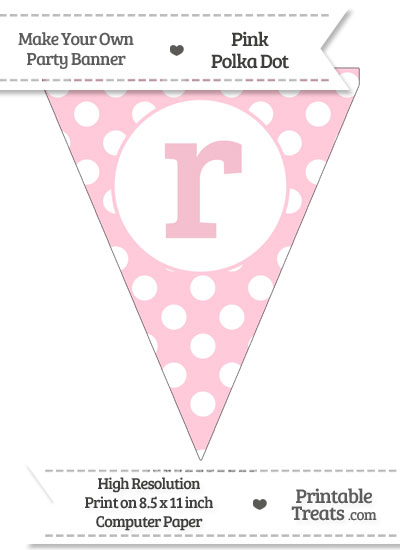 Pink Polka Dot Pennant Flag Lowercase Letter R from PrintableTreats.com