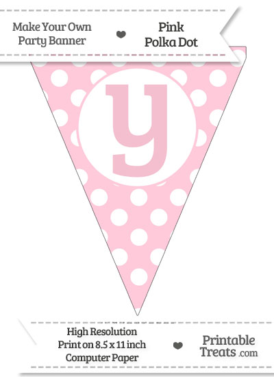 Pink Polka Dot Pennant Flag Lowercase Letter Y from PrintableTreats.com