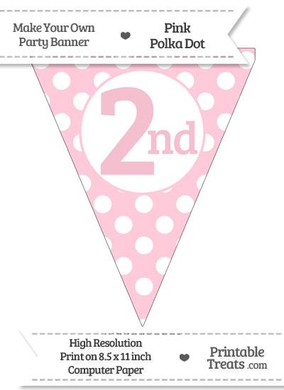 Pink Polka Dot Pennant Flag Ordinal Number 2nd from PrintableTreats.com