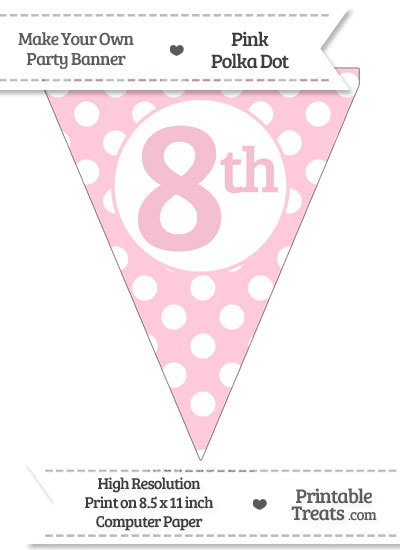 Pink Polka Dot Pennant Flag Ordinal Number 8th from PrintableTreats.com