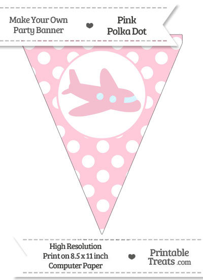 Pink Polka Dot Pennant Flag with Airplane Facing Right from PrintableTreats.com