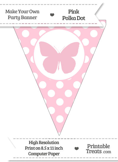 Pink Polka Dot Pennant Flag with Butterfly from PrintableTreats.com