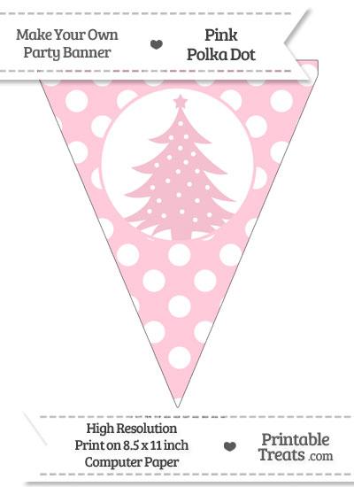 Pink Polka Dot Pennant Flag with Christmas Tree from PrintableTreats.com