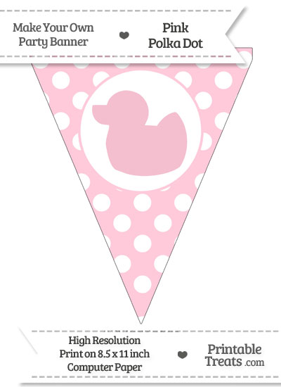 Pink Polka Dot Pennant Flag with Duck Facing Left from PrintableTreats.com