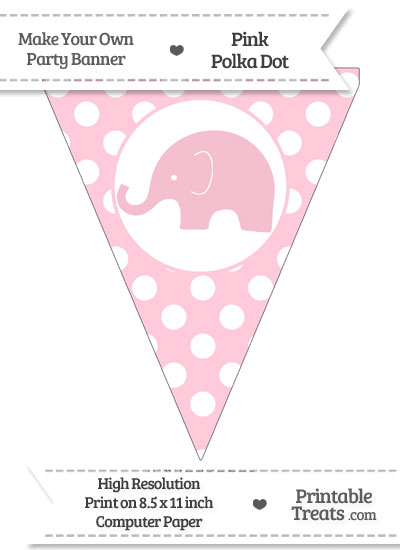 Pink Polka Dot Pennant Flag with Elephant Facing Left from PrintableTreats.com