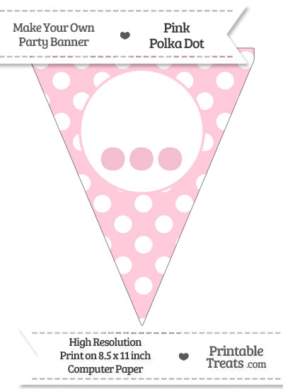 Pink Polka Dot Pennant Flag with Ellipses from PrintableTreats.com