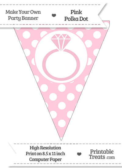 Pink Polka Dot Pennant Flag with Engagement Ring from PrintableTreats.com