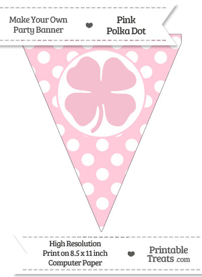 Pink Polka Dot Pennant Flag with Four Leaf Clover Facing Right from PrintableTreats.com