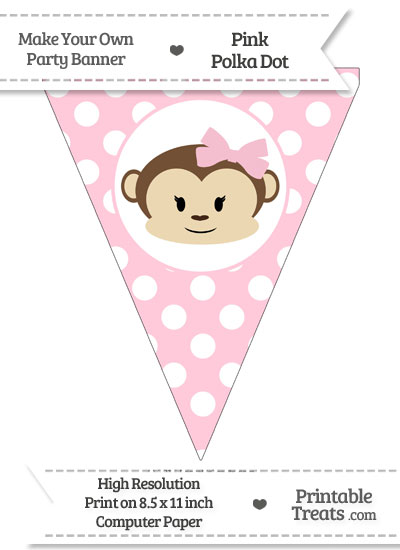 Pink Polka Dot Pennant Flag with Girl Monkey from PrintableTreats.com