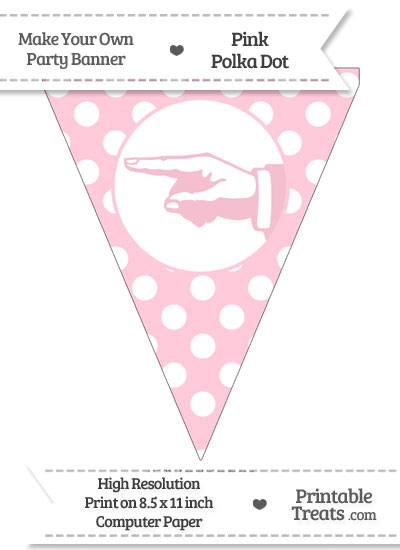 Pink Polka Dot Pennant Flag with Hand Pointing Left from PrintableTreats.com