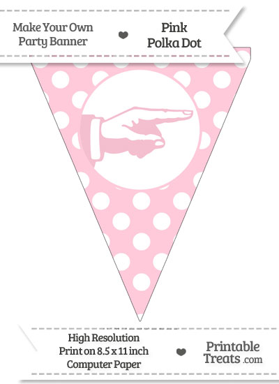 Pink Polka Dot Pennant Flag with Hand Pointing Right from PrintableTreats.com