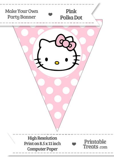 Pink Polka Dot Pennant Flag with Hello Kitty from PrintableTreats.com