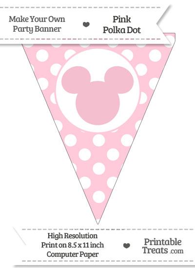 Pink Polka Dot Pennant Flag with Mickey Mouse from PrintableTreats.com