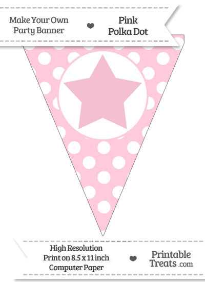 Pink Polka Dot Pennant Flag with Star from PrintableTreats.com