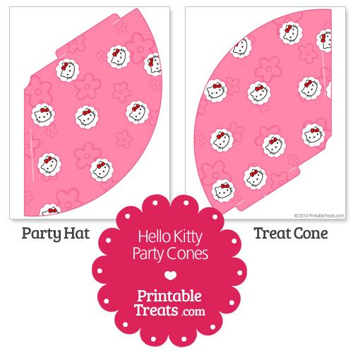 pink printable hello kitty party cones