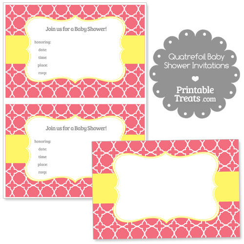 pink quatrefoil baby shower invitation