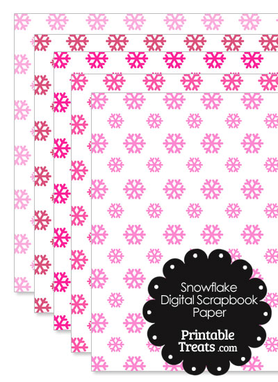 Pink Snowflake Digital Scrapbook Paper from PrintableTreats.com