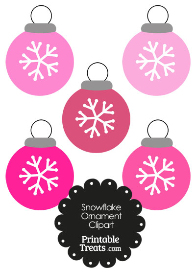 Pink Snowflake Ornament Clipart from PrintableTreats.com