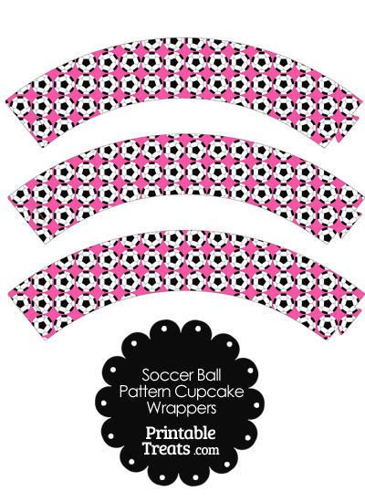Pink Soccer Ball Pattern Cupcake Wrappers from PrintableTreats.com