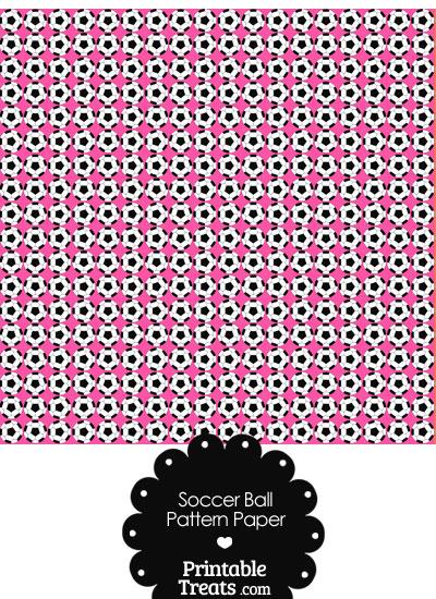 Pink Soccer Ball Pattern Digital Scrapbook Paper from PrintableTreats.com