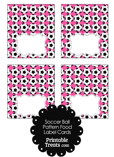 Pink Soccer Ball Pattern Food Labels from PrintableTreats.com