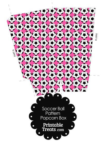 Pink Soccer Ball Pattern Popcorn Box from PrintableTreats.com
