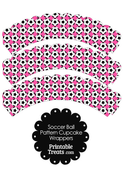 Pink Soccer Ball Pattern Scalloped Cupcake Wrappers from PrintableTreats.com