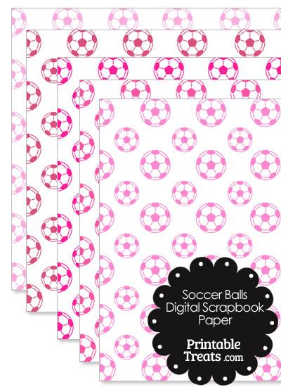 Pink Soccer Digital Scrapbook Paper from PrintableTreats.com