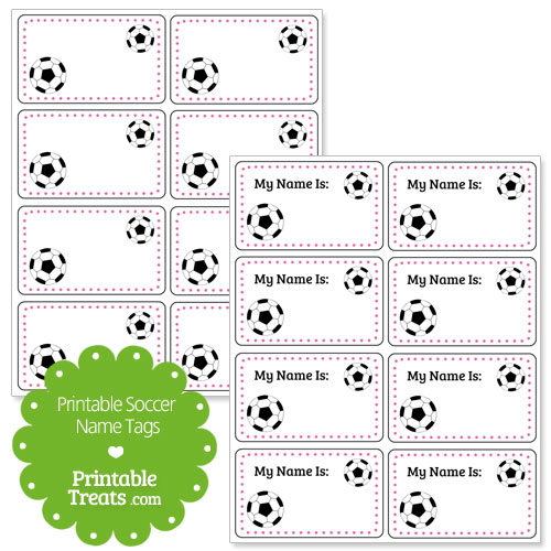 pink soccer name tags