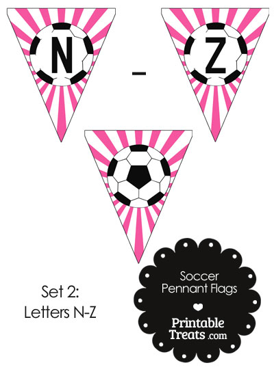 Pink Soccer Party Flag Letters N-Z from PrintableTreats.com