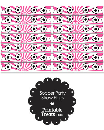 Pink Soccer Party Straw Flags from PrintableTreats.com