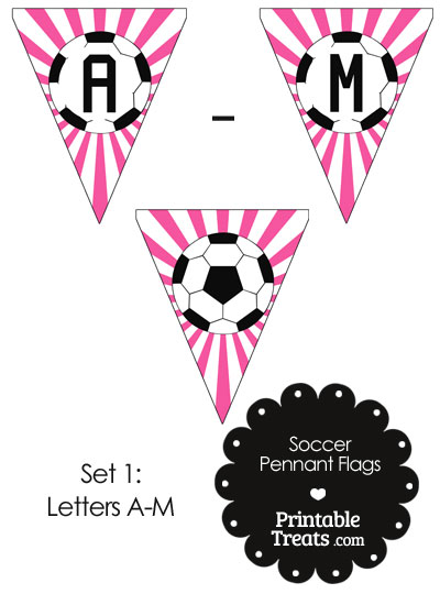 Pink Soccer Pennant Banner Flag Letters A-M from PrintableTreats.com