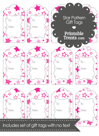 Pink Star Pattern Gift Tags from PrintableTreats.com
