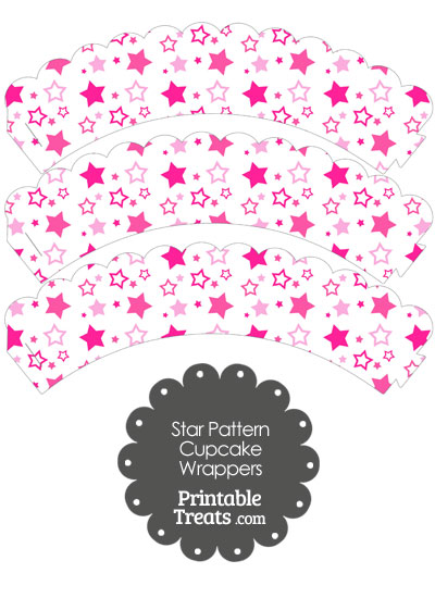 Pink Star Pattern Scalloped Cupcake Wrappers from PrintableTreats.com