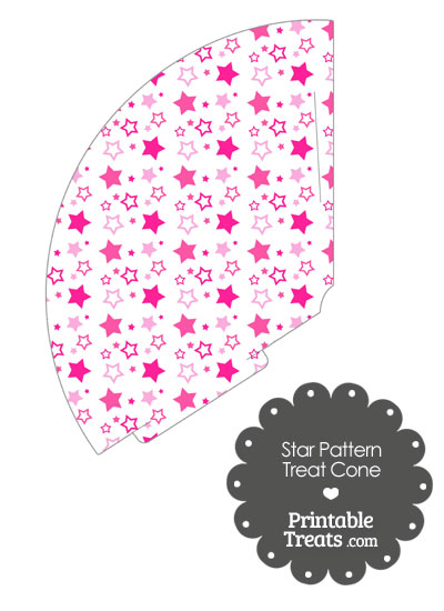 Pink Star Pattern Treat Cone from PrintableTreats.com