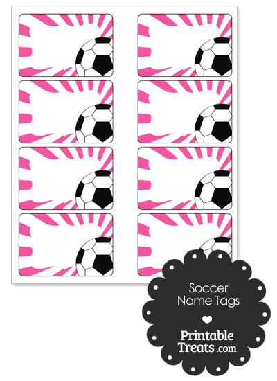 Pink Sunburst Soccer Name Tags from PrintableTreats.com
