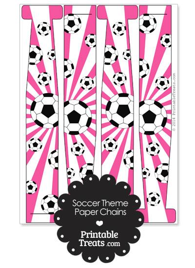 Pink Sunburst Soccer Paper Chains from PrintableTreats.com