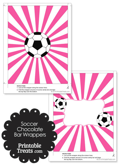 Pink Sunburst Soccer Party Candy Wrappers from PrintableTreats.com