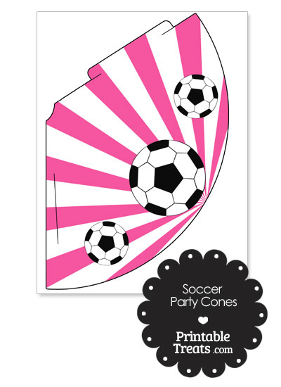 Pink Sunburst Soccer Party Cones from PrintableTreats.com