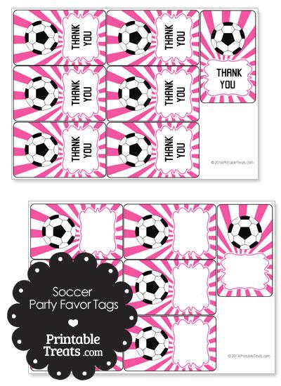 Pink Sunburst Soccer Party Favor Tags from PrintableTreats.com