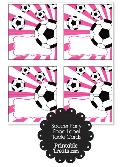Pink Sunburst Soccer Party Food Labels from PrintableTreats.com