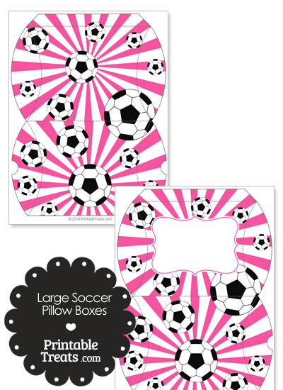 Pink Sunburst Soccer Party Large Pillow Boxes from PrintableTreats.com